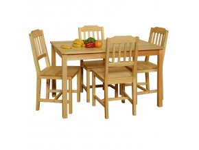 Stůl + 4 židle 8849 borovice lak