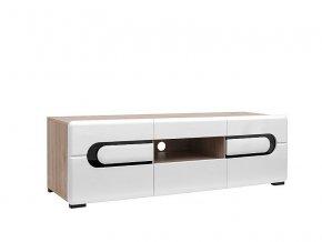 BYRON RTV2D2S/5/15 TV stolek dub san remo světlý/bílý lesk