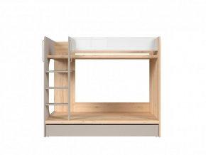 NAMEK LOZ1S/90/P patrová postel buk iconic/bílý lesk/šedá