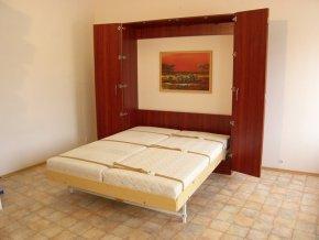 Sklápěcí postel ve skříni - dvojlůžko s roštem SKL2VKPP š.160cm (KZK Borovice 1770)