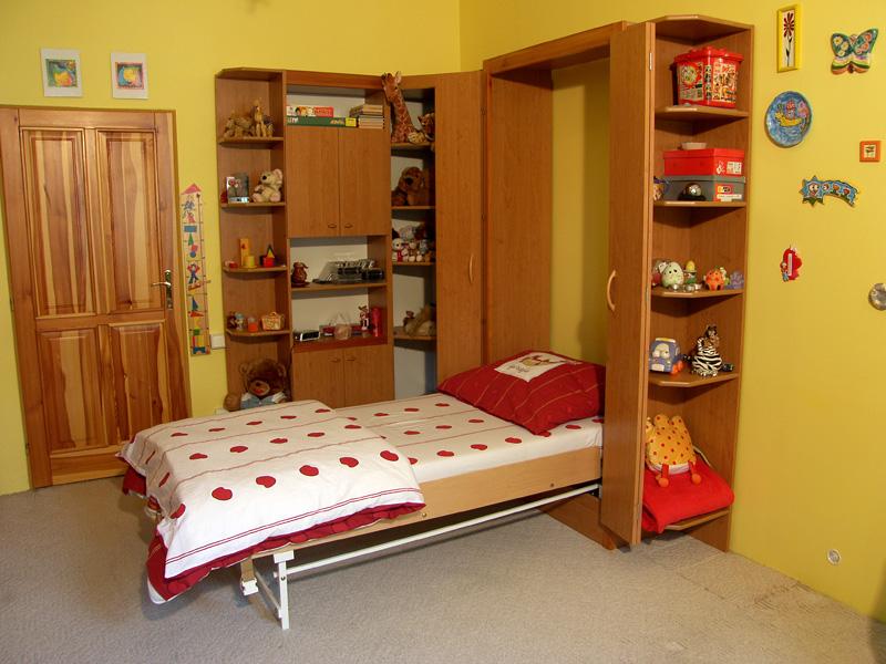 Sklápěcí postel ve skříni - jednolůžko s roštem SKL1VN š.90cm