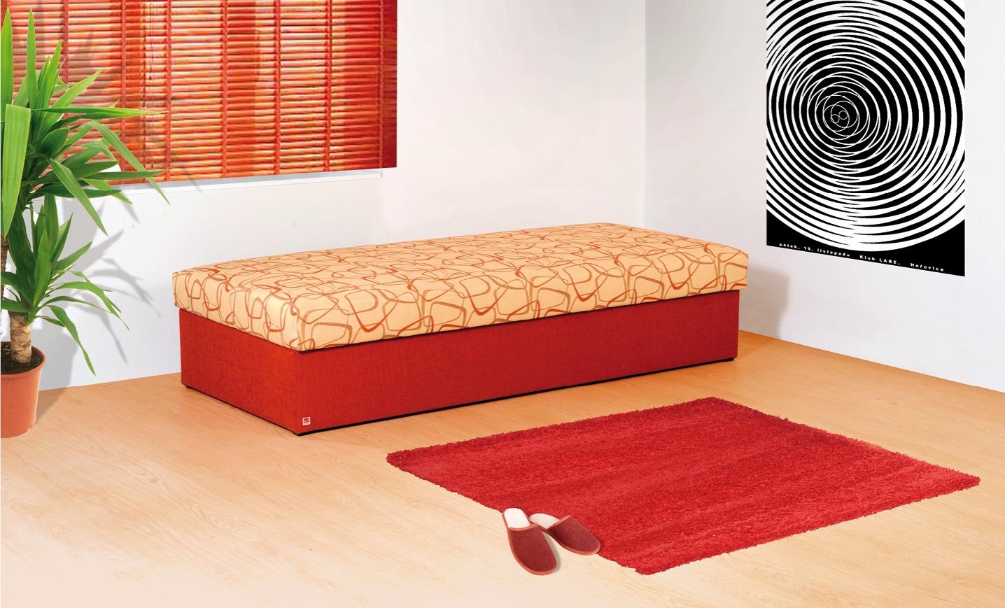 VÁLENDA jednolůžková čalouněná postel s úložným prostorem