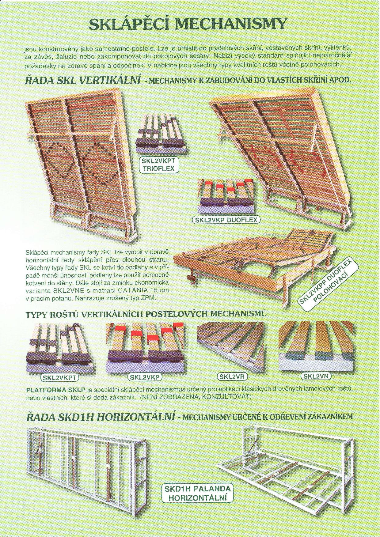 Sklápěcí postel ve skříni - dvojlůžko s roštem SKL2VKPP š.180cm