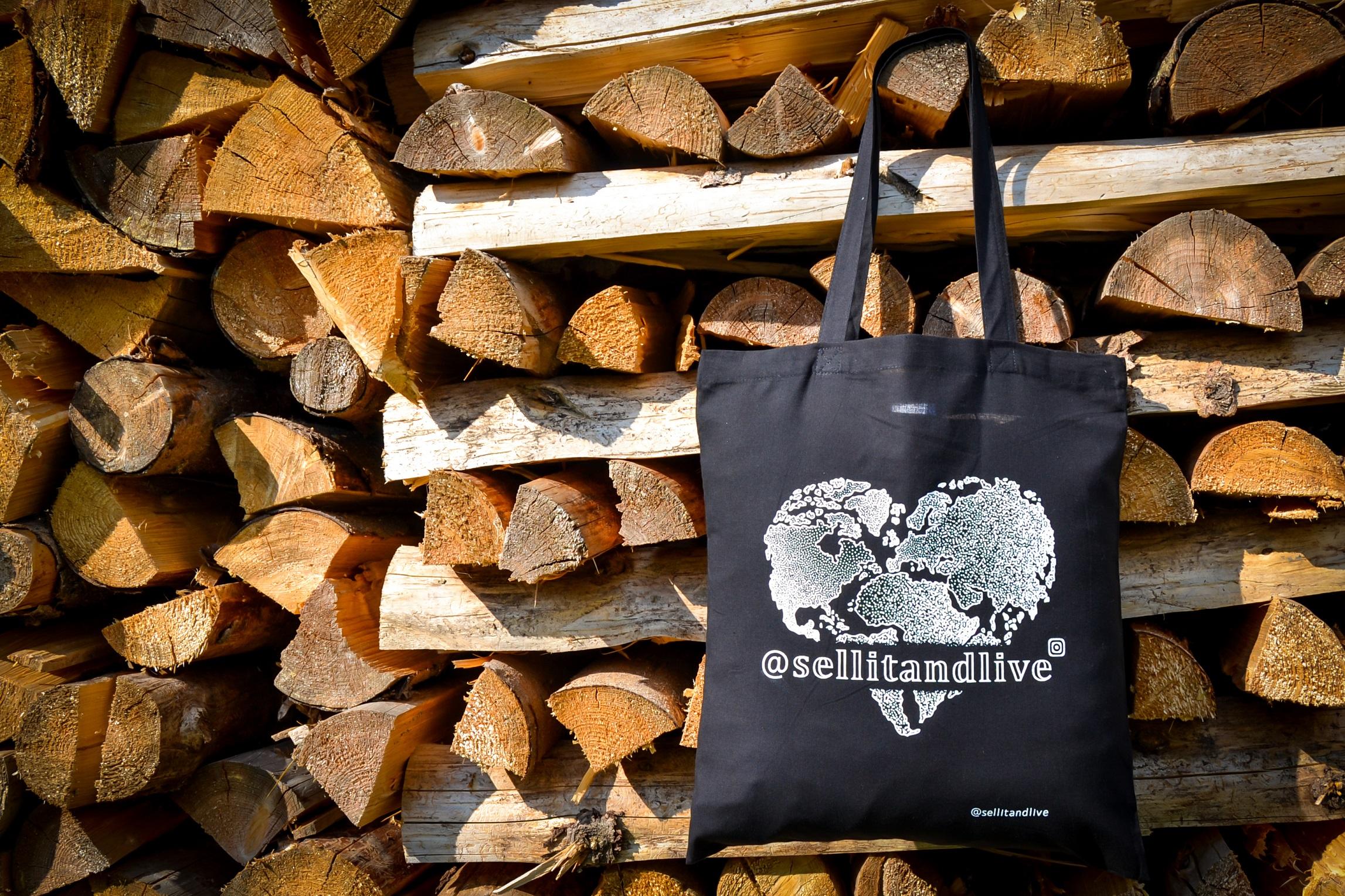 Taška 100% bavlna - černá (logo srdce)