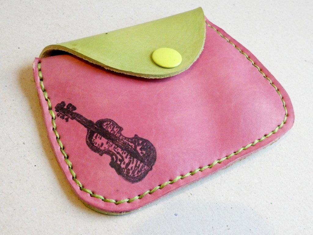 Kožená peněženka velká růžovo-zelená