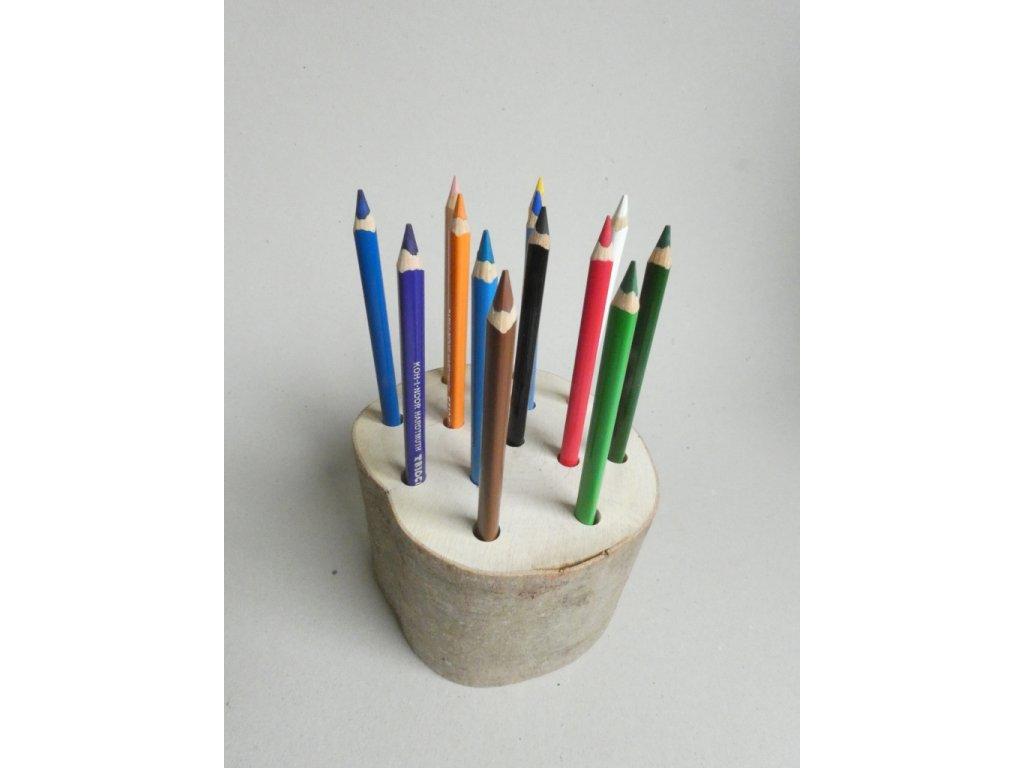 pastelkovník - špalek - stojánek na pastelky, v. 10 cm