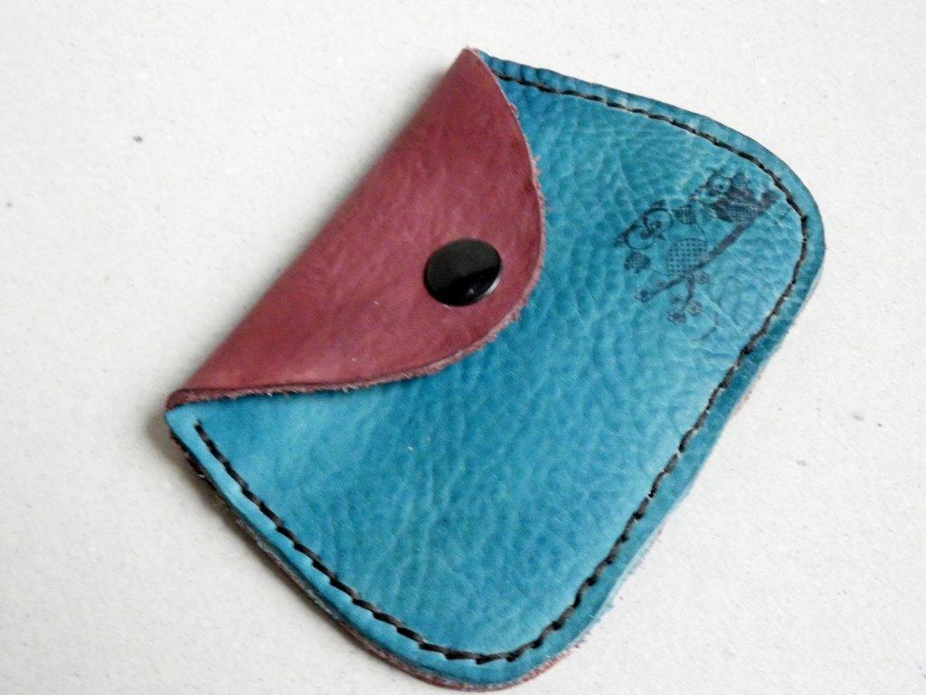 Kožená peněženka velká modro-hnědá