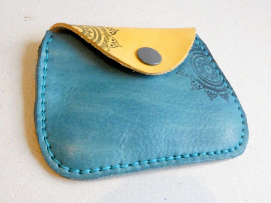 Kožená peněženka velká modro-žlutá
