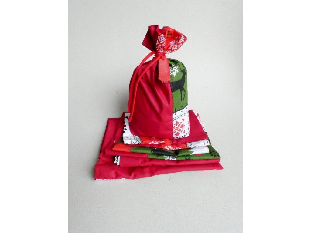 Vánoční látkové pytlíčky na balení dárků - JELENI