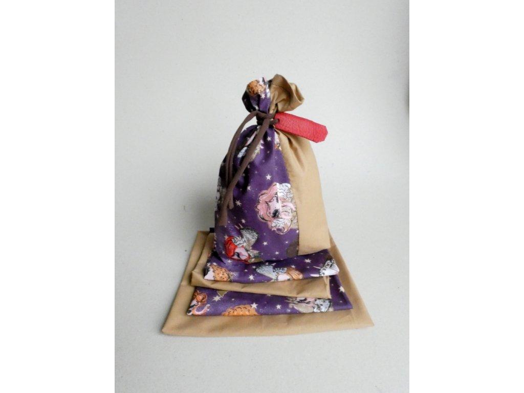 Vánoční látkové pytlíčky na balení dárků - fialové 6+1