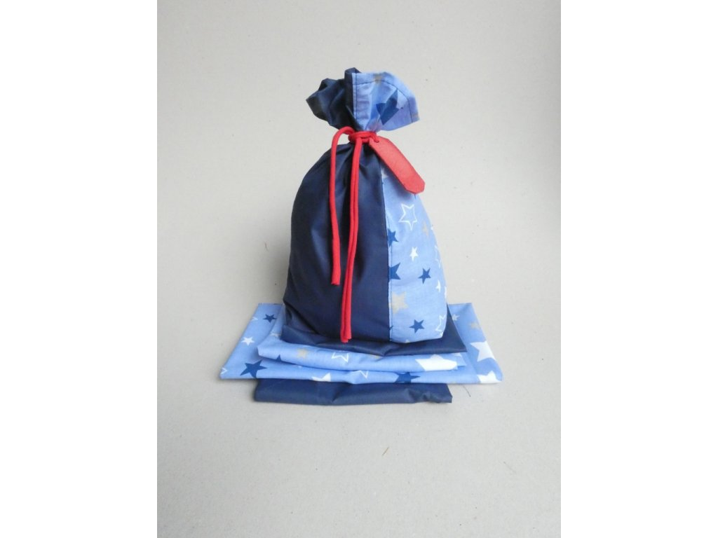 Vánoční látkové pytlíčky na balení dárků - sv.modré 6+1