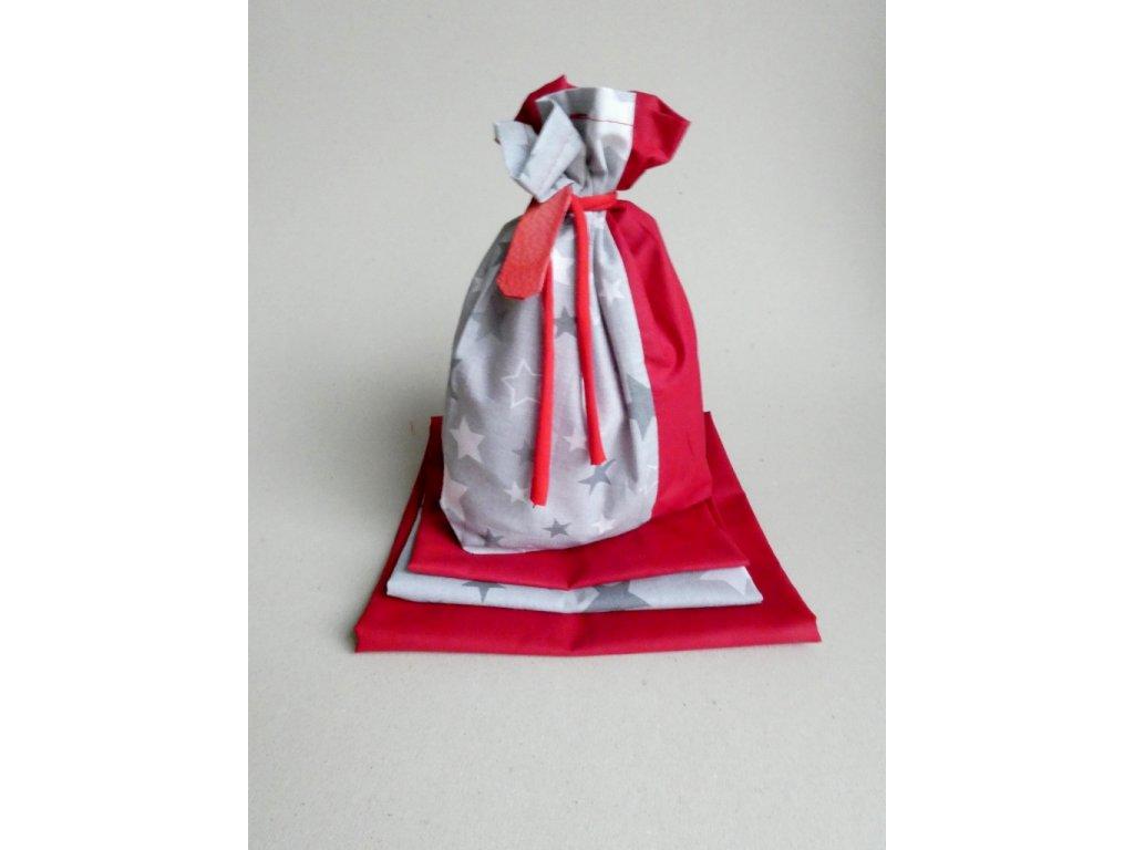 Vánoční látkové pytlíčky na balení dárků - šedá velké hvězdy 6+1