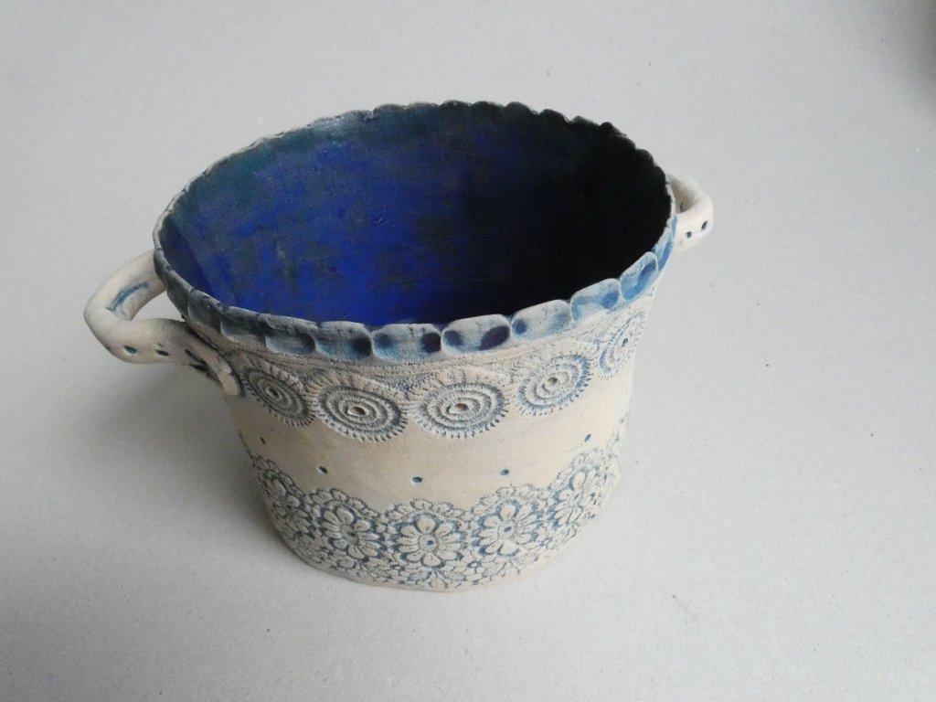 Keramický obal na květináč - modrý