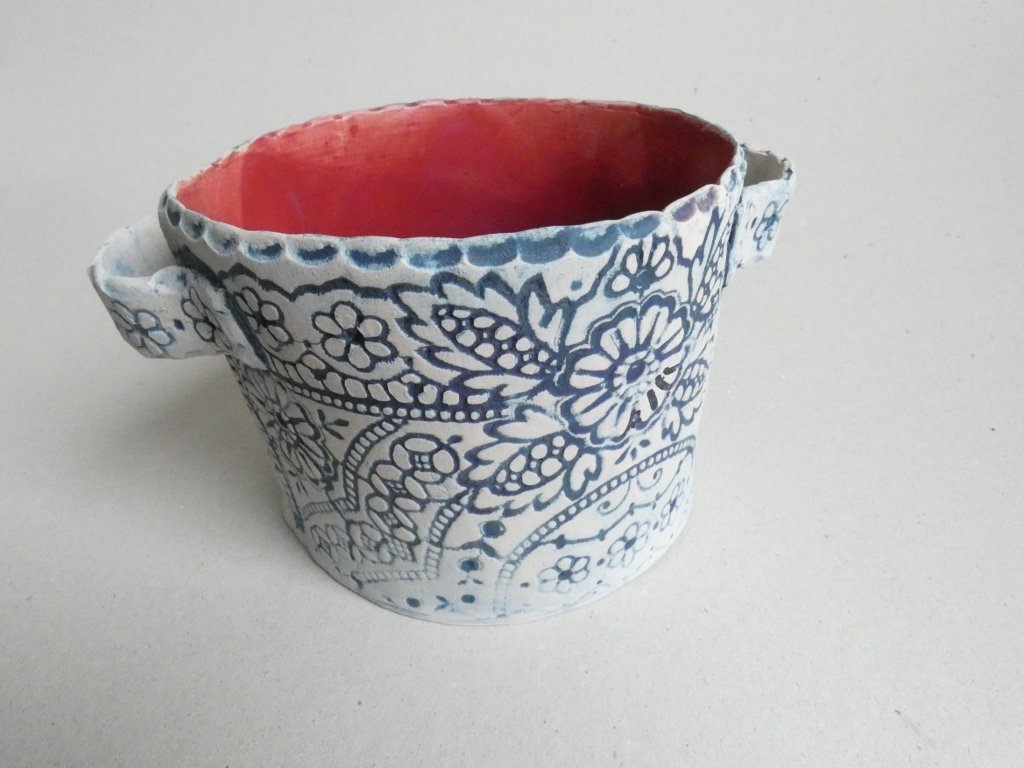 Keramický obal na květináč - červený