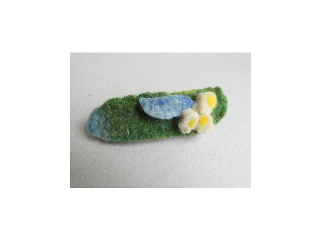 Plstěná spona do vlasů - zelená s bílou kytičkou34spona kyt