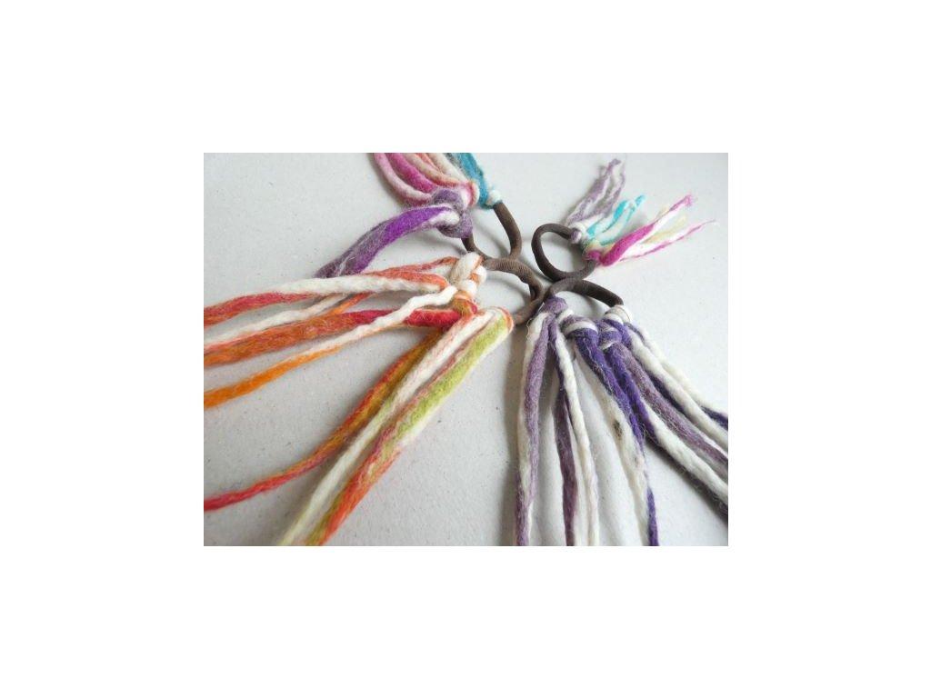 Plstěné dredy na gumičce do vlasů
