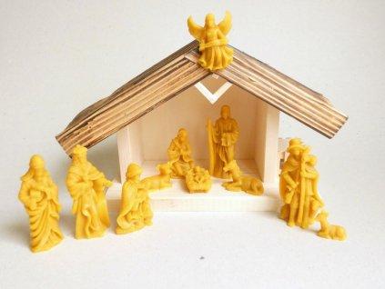 Dřevěný betlém s voskovými figurkami - velký