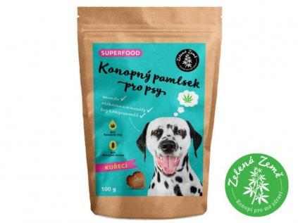 Konopný pamlsek pro psy - kuřecí příchuť 100g | Zelená Země