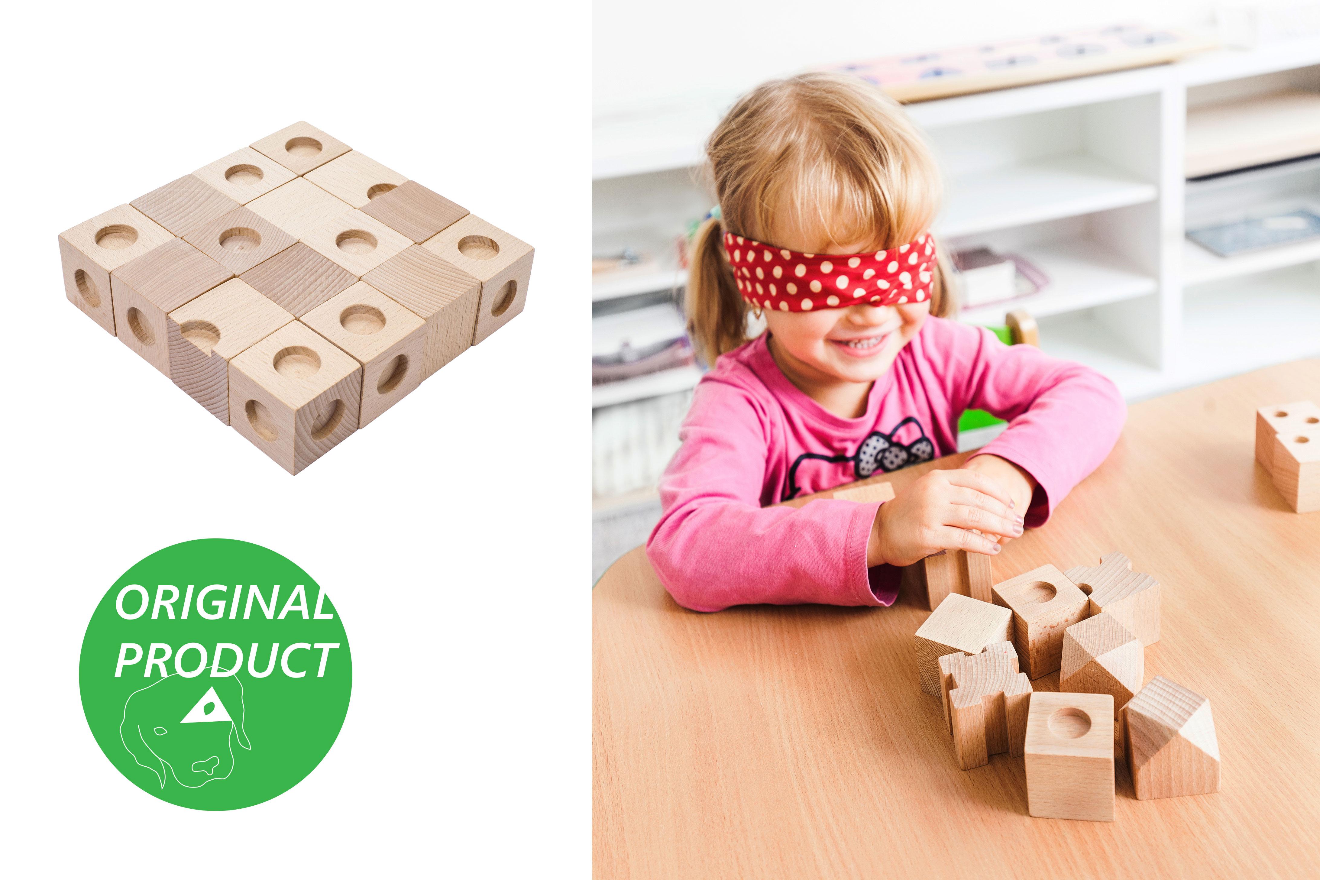 DĚTSKÉ POMŮCKY Dřevěné hmatové kostky 1. stupeň obtížnosti