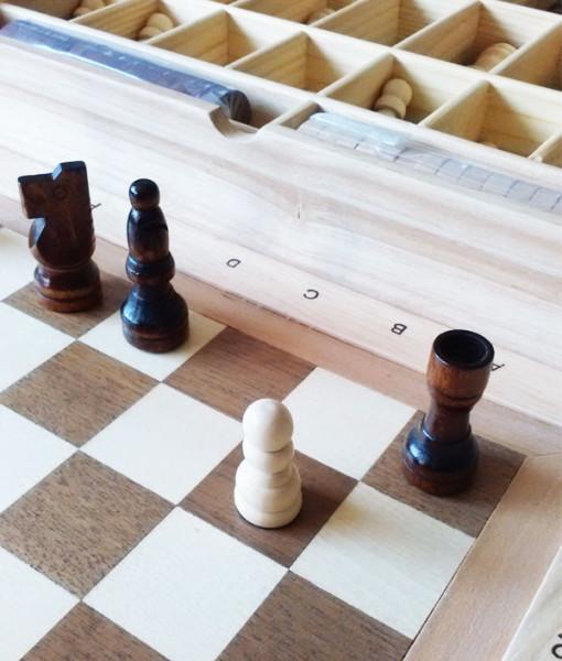 GOKI Stolní hra 3 v 1 Šachy, dáma, mlýn