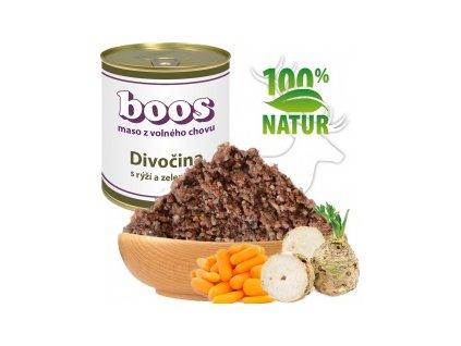 konzerva pro psy divocina s ryzi a zeleninou boos default