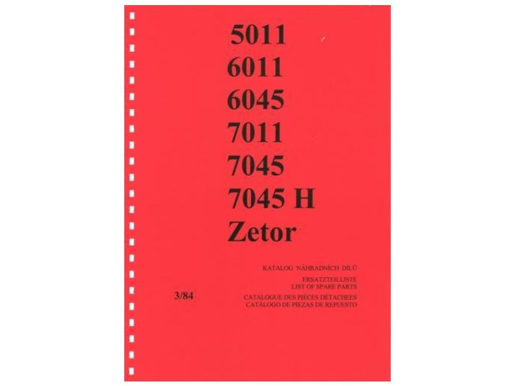 Book of spare parts for Zetor tractor 5011-7045 (Katalog)