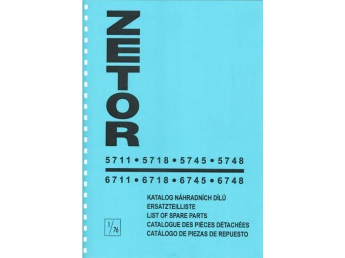 Book of spare parts for Zetor tractor 5711-6748 (Katalog)