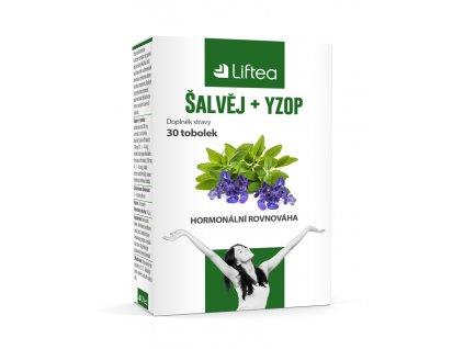 Liftea Šalvěj + yzop, přírodní doplněk stravy, pomáhá k hormonální rovnováze a reguluje nadměrné pocení