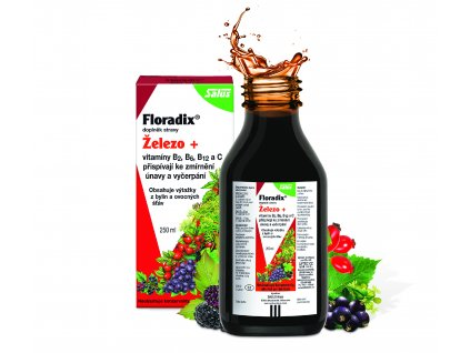 Salus Floradix Železo+je přírodní doplněk stravy, kterýpomáhá ke zmírnění únavy i v těhotenství. Železo je důležité pro tvorbu červených krvinek.