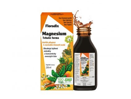 Salus Floradix Magnesiumje tekutý doplněk stravy s hořčíkem z přírodních surovin. Má příznivý vliv na správnou činnost svalů a na udržení normálního stavu kostí a zubů.