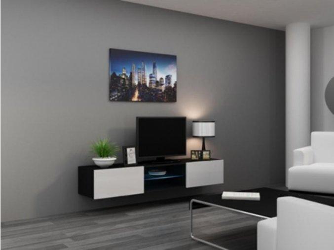 Televizní stolek VIGO Glass 180 - černá/bílá