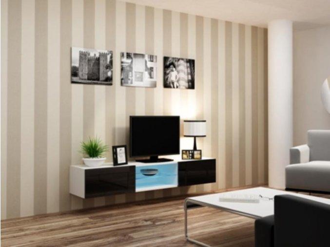 Televizní stolek VIGO Glass 180 - bílá/černá