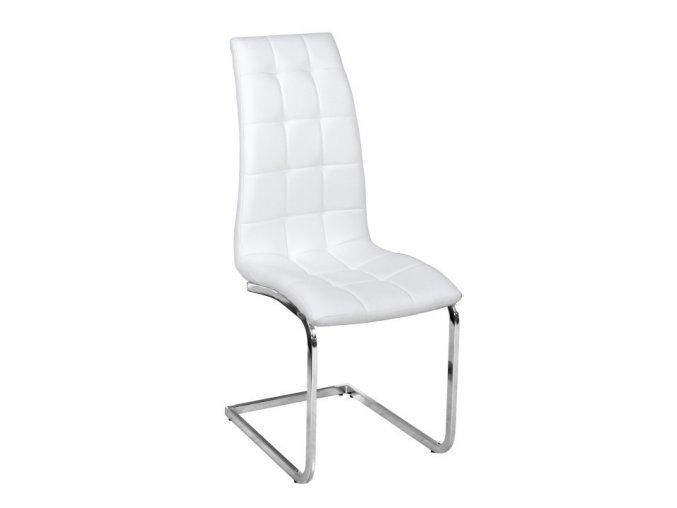 Jídelní židle DULCIA - bílá ekokůže / chrom