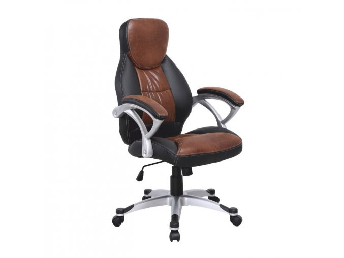 Kancelářská židle ICARUS - hnědá ekokůže + černá / plast,