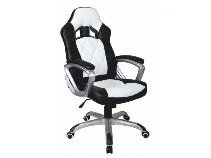 Kancelářské křeslo LOTAR - černá ekokůže / bílá ekokůže