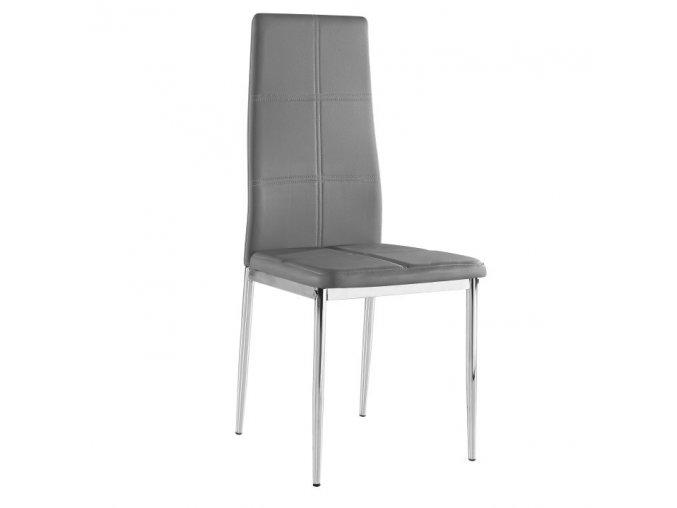 Židle LERA - šedá ekokůže / chrom