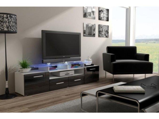 Televizní stolek Evora RTV - bílá/černý lesk