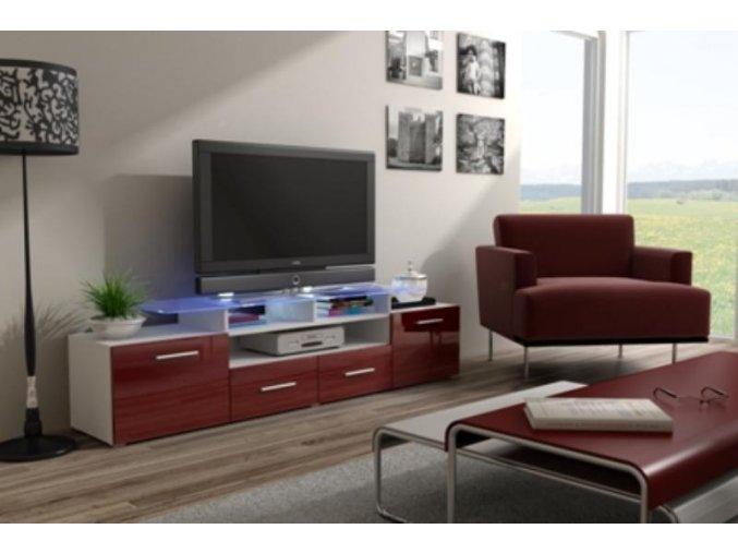 Televizní stolek Evora RTV - bílá/bordo lesk