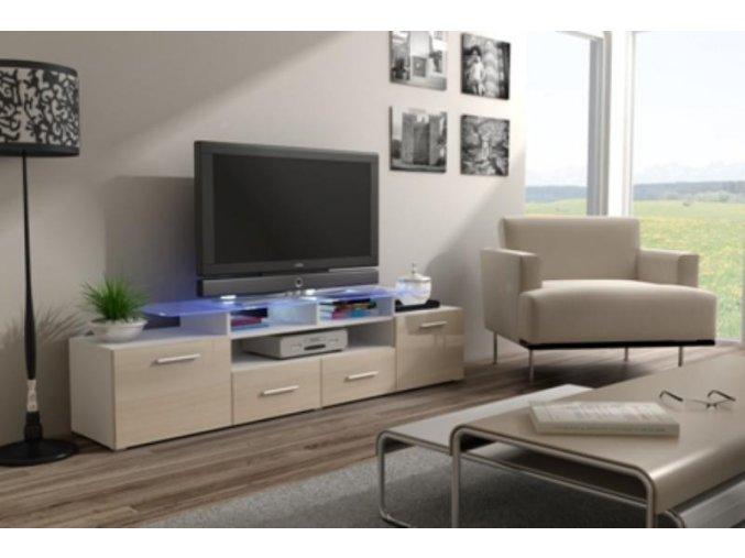 Televizní stolek Evora RTV - bílá/krémový lesk