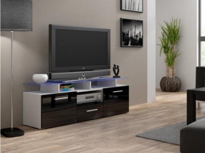 Televizní stolek Evora mini RTV - bílá/černý lesk