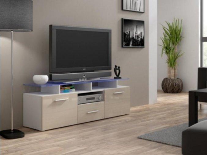 Televizní stolek Evora mini RTV - bílá/krémový lesk