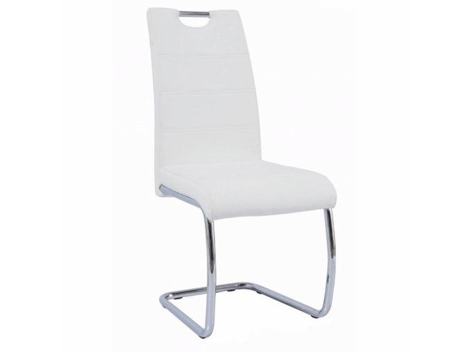 Jídelní židle ABIRA NEW - bílá ekokůže / chrom