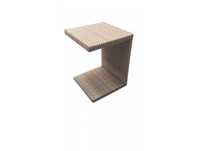 Zahradní ratanový odkládací stolek k lehátkům - šedobéžový