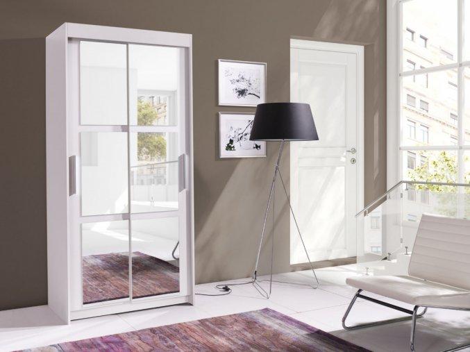 Skříň Karuba 100 - bílá/zrcadlo