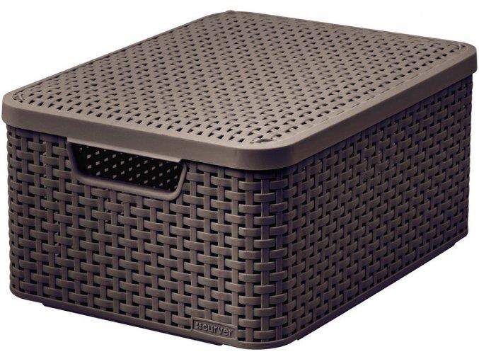 Box s víkem STYLE - M - tm. hnědý