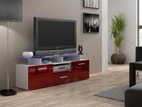 Televizní stolek Evora mini RTV - bílá/bordo lesk