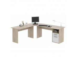 Rohový PC stůl MAURUS MA11 - dub sonoma/bílá