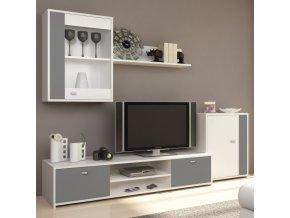 Obývací stěna GENTA - bílá / šedá