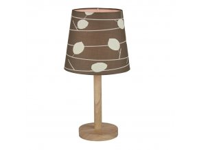 Stolní lampa QENNY TYP 6 - dřevo / látka vzor listy