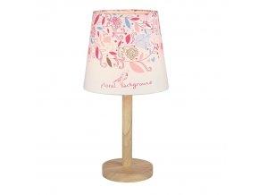 Stolní lampa QENNY TYP 8 - dřevo / látka vzor květy